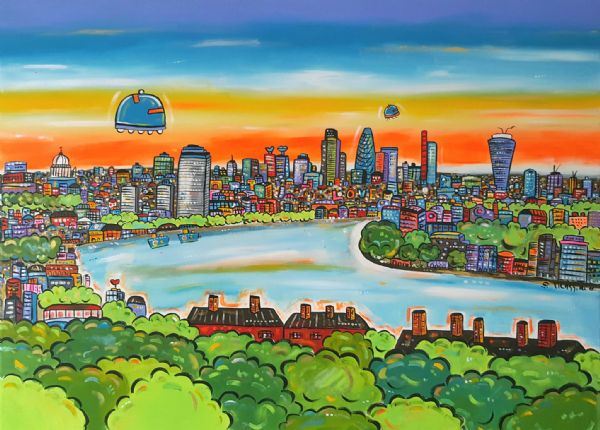 Funky View of London, original painting
